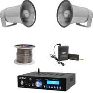"Mini Bluetooth USB Amplifier,8.1"" PA Horn Speakers,Speaker Wire,Lavalier Mic Set"