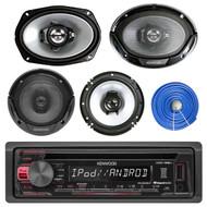 "Kenwood USB AUX CD Mp3 Car Receiver, 4 6X9"" & 4 6.5""Car Speakers w/ Speaker Wire"