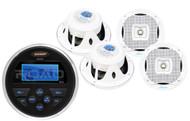 """6.5"""" White 2Way Marine Speaker Set, Jensen MS30 USB AUX AM FM Marine Receiver"""
