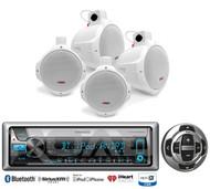 """4 Marine Wakeboard 6.5"""" Speakers, Kenwood Marine Bluetooth USB CD Radio/ Remote"""