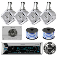 "1600W Marine Amplifier, 6.5"" Marine Speakers & Wiring, Bluetooth CD Radio/Remote"