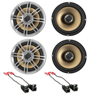"2 Pairs Polk Audio DB651S Slim Design 6.5"" Inch 2- Way Marine ATV Outdoor Coaxial Car Audio Stereo Speakers Silver, Metra 72-4568 Speaker Harness for Select GM Vehicles"