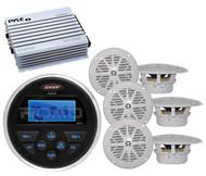 """Jensen Marine MS30 AM FM AUX USB Radio,400W Amplifier,6 White Marine 4"""" Speakers"""