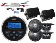 "MS30 Marine USB AUX Radio,Amplifier,2 Black Box 3.5"" & 4 Black 4"" Round Speakers"