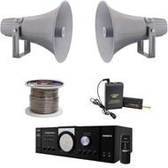 """12.7"""" PA 60W Horn Speakers, Lavalier Mic, Speaker Wire, Mono Pyle Mic Amplifier"""
