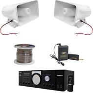 """Lavalier Mic System, PT110 Mono Amplifier, 8"""" Horn PA Speakers, Speaker Wire"""