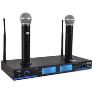 New Pyle PDWM2560 Premier Series UHF Wireless Microphone System with (2) Handheld Mics, Dual Rechargeable Dock, Selectable Frequency, LCD Display, Rack Mountable