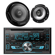 "Kenwood 2Din Bluetooth iPod USB CD AUX Car Radio, 2 6.5"" Flush Mount Speaker Set"