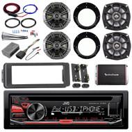 """CD Harley USB FLHTC Install Adapter Kit, Kicker 6.5"""" and 5.25"""" Speakers, Amp Kit"""