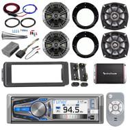 Dual CD Bluetooth Harley FLHT Adapter Kit, Amplifier and Kit, Kicker Speaker Set