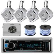 "8 Wakeboard Marine 6.5""Speakers/Wires,1600W Amplifier,Bluetooth USB Marine Radio"