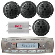 4 x 45 Watt JBL MR18.5 AM/FM Radio Waterproof Marine Stereo Receiver, Pyle PLMR51B 100 Watts 5.25'' 2 Way Marine Speakers, PLMRMP3A Pyle 4 Channel Waterproof MP3/ Ipod Marine Power Amplifier (White)