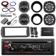 Kenwood USB CD Radio,Harley FLHT Install Adapter Kit,Amplifier, Kicker Speakers