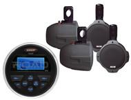"New Jensen MS30 USB AUX AM FM Marine Receiver 4 X 8"" Marine Wakeboard Speakers,"
