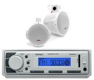 "EKMR20WT USB AM FM AUX White Marine Radio, 2 White 8"" Wake Board Marine Speakers"
