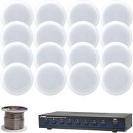 """5.25"""" White 150W In-Ceiling Speakers, Speaker Wire, 8-Channel Speaker Selector"""