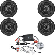 "4 Enrock Black 6.5"" Marine 100W Speakers, 1200W Bluetooth Black Marine Amplifier"