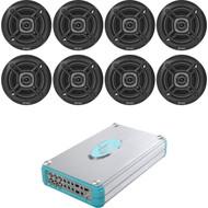 """Lanzar Marine 4800W 8 Channel Amplifier,8 Marine 6.5""""Black 100W Enrock Speakers"""