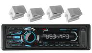 "Boss USB iPod AUX Bluetooth AM FM Marine Radio& 4 3.5"" White Box Marine Speakers"