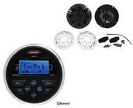 "MS30BTR Marine Bluetooth USB AUX Radio, 2 Kicker 4"" 150W Marine Grade Speakers"