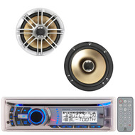 "2 Silver 6.5""330W Marine Polk Audio Speakers,Marine Bluetooth CD iPod Dual Radio"