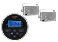 """Jensen Marine MS30 USB AUX AM FM Receiver, 2 Silver Mini Box 200W 3.5"""" Speakers"""