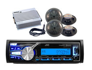 JVC Outdoor Use USB iPod AUX USB Input Radio with 400W Amp, Antenna, 4 Speakers