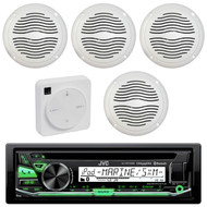 """Package Bundle Kit Includes: 1 JVC KD-R97MBS Bluetooth Stereo USB/AUX CD Player Receiver Unit + 4 x (2 Pairs) of Magnadyne AquaVibe WR65W 6-1/2"""" Inch White Marine Speakers + 1 Dual XGPS10M Boat Bluetooth Wireless GPS Receiver"""