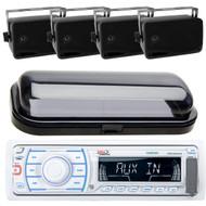 Marine Boat MP3 AM/FM Radio Player + 4 Black Box Speakers & Cover