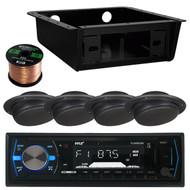 "Pyle PLMRB29B Bluetooth In-Dash Stereo Radio Headunit Receiver, 2T41422 - METRA Universal Underdash Housing, 1 XLS2CMW-BLK 2.5"" 2 1/2 Inch Ceiling Mount Satellite Speaker for RV Mobile Home Theater System, Enrock Audio 16-Gauge Speaker Wire - 50 Feet"