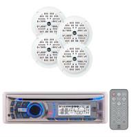 240W Dual Marine Boat Detachable Face CD MP3 AM/FM Radio 4 Enrock Speakers Pkg