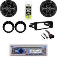 Dual Bluetooth USB CD Stereo, Kicker Speaker Set, Harley FLHX Install Dash Kit