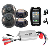 New Outdoor Boat Bike ATV Marine Grade Black Speakers, 800W Amplifier,Phone Case