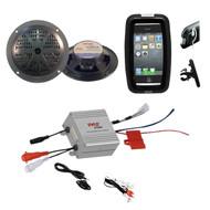 Outdoor Offroad Bike Boat Marine Black Round Speakers, 2 Channel iPod Amplifier