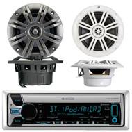 "Kenwood KMR-D765BT Marine Boat Yacht Outdoor CD MP3 USB AUX Bluetooth AM/FM Radio Receiver, Pair of Kicker 41KM604W 6.5"" 6-1/2"" Inch 4-Ohms Audio Speakers, Pair Kicker 41KM44CW 4"" 2-Way KM Series 4-Ohm Coaxial Marine Speakers"
