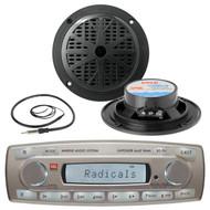 Brand New JBL MR18.5 Marine iPod Input Radio Player 2 Black Speakers Antenna