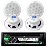 JVC KD-R97MBS iPod & Android CD MP3 Bluetooth Outdoor USB AUX AM/FM Radio Receiver, AQ5DCW Lanzar 300 Watts 5.25'' White Dual Cone Marine Speakers