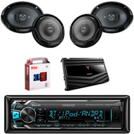 "1 X In Dash Kenwood KMMBT322U In Dash Media Bluetooth Receiver, 1 X Pair Kenwood KFC6966S  6X9"" Speaker, 1 X Pair Kenwood KFC1665S 6.5"" Speakers, 1 X Kenwood KAC6406 4/3/2 Ch Amp, 1 X 8g Install Kit"