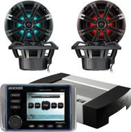 "Kicker KMC20 Marine Boat Yacht Powersports Outdoor 3.5"" Full Color LCD Display Premium Stereo Radio, Kicker KM654LCW 6.5 Inch 2-way Marine Speaker Pair with Built-In LED Lighting"