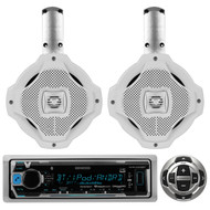 "2 White Marine 6.5""2Way Speakers,Bluetooth Kenwood USB Marine Radio/Wired Remote"