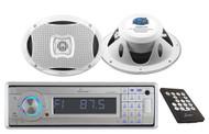 AQCD60BTS Marine MP3 Detachable Stereo W/Bluetooth+ 500 Watt 2-Way Boat Speakers