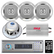 Lanzar AQCD60BTS Silver Bluetooth AM/FM-MPX In-Dash Marine CD/SD/MMC/USB Player Receiver, Lanzar AQ7CXS Lanzar 500 Watts 7.7'' 2-Way Marine Speakers (Silver Color), PLMRMP3A Pyle 4 Channel Waterproof MP3/ Ipod Marine Power Amplifier (White)