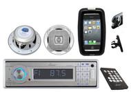 "Lanzar Marine MP3/USB Stereo W/Bluetooth + 6.5"" Speakers+iPhone Smartphone Case"
