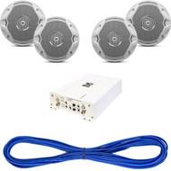"""JBL MS6510 6-½"""" Dual Cone Marine Speakers - (Pair) White, 14 Gauge 50 Foot Marine Speaker Wire , Millenia® MIL-AMP1704"""
