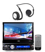 Bluetooth CD USB SD Touch Screen Pyle Receiver, Bluetooth Pyle Flex Headphones