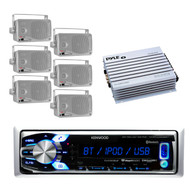 Kenwood Marine Car USB iPod AUX Input Radio Bluetooth, Silver Speakers, 400W Amp