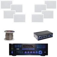 """6.5"""" In-wall 200W Silver Speakers, DVD Receiver, Speaker Selector, Speaker Wire"""