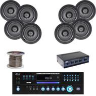 "PD1000A DVD USB Receiver, 5.25"" Ceiling Speakers, Speaker Wire, Speaker Selector"
