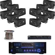 "PD3000A AM FM USB DVD Receiver, Speaker Selector/Wire, 3.5""Black Box Speaker Set"