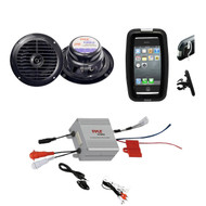 "Marine Offroad Use Bike Boat ATV Black 6.5"" Speakers, Amplifier w/iPod MP3 Input"